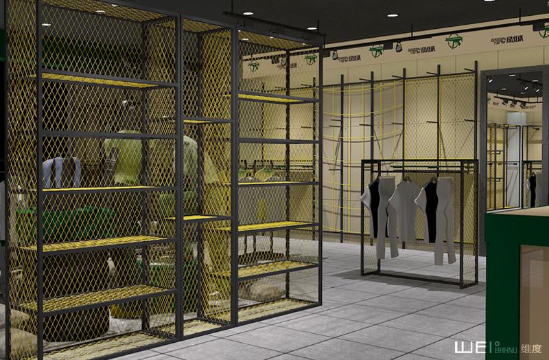 设计理念: 铁网货架设计融合绿色基调,给人一种户外军旅生活的体验,在军旅体验中选购适合客户自己的商品;而大胆的黄色货架及展示台,与绿色背景形成鲜明的色觉冲击,吸引客户眼球同时也带来不一样的新鲜感,让销售业绩及服务质量都带来新高度。